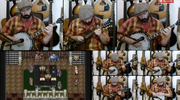 Identical Bearded Septuplets Play Chrono Trigger Song on Banjo