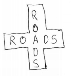 """The Whatchamacallit category has visual puzzlers like this one, the answer to which is """"cross roads"""" because it's a picture of roads in the shape of a cross."""