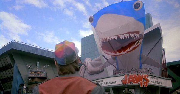 The Jaws 19 scene from Back to the Future Part 2