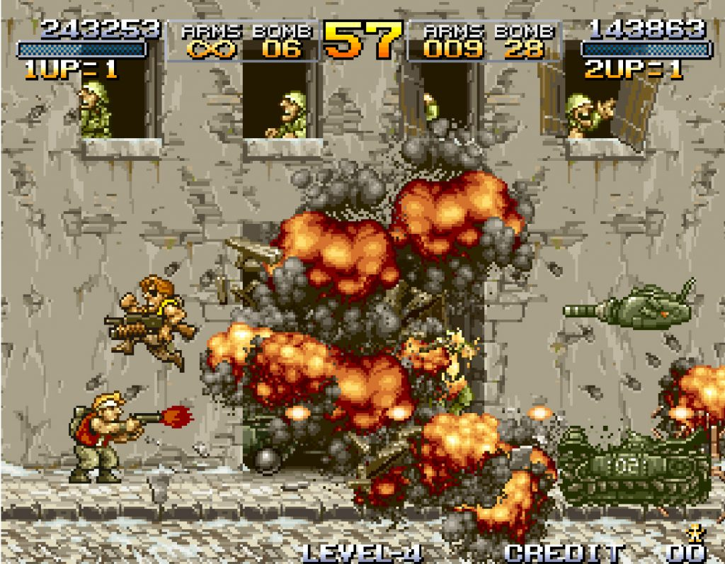 Imagine this for a couple hours straight at a fluid framerate. Part of what made Metal Slug hard was the fact the graphics on the game were so good all over the place, it was distracting.