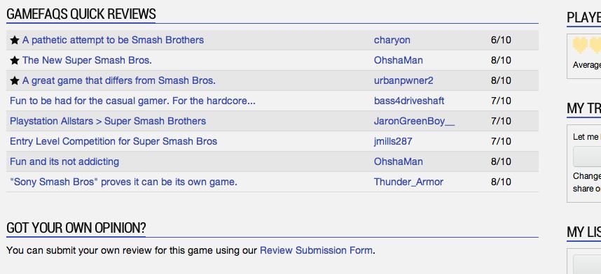 GameFAQs List
